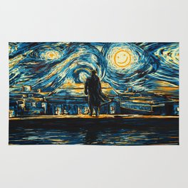 Starry Night Sherlock Holmes Art Painting Rug