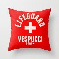 grand theft auto Throw Pillows featuring Los Santos Vespucci Beach Lifeguard Grand Theft Auto by KeenaKorn