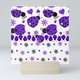 Cute Ladybugs Purple Mini Art Print