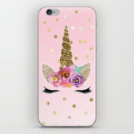 Floral Trendy Modern Unicorn Horn Gold Confetti iPhone Skin