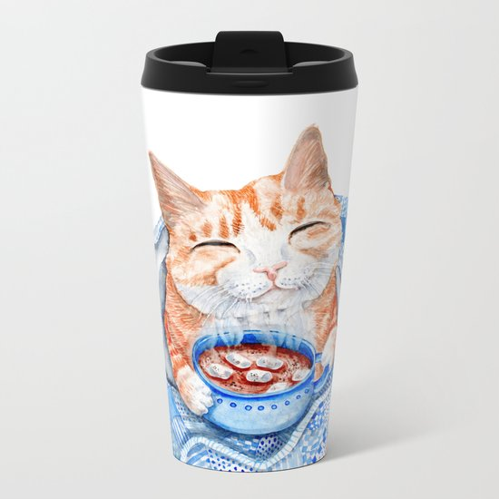 Happy Cat Drinking Hot Chocolate Metal Travel Mug