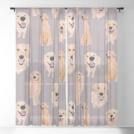 Golden Retriever Sheer Curtain