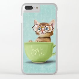 Kitten with glasses Clear iPhone Case