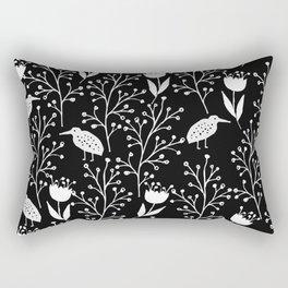 Kiwi Garden - Black and White Rectangular Pillow