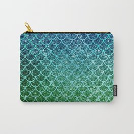 Mermaid Blue & Green Glitter Ombre Scales Carry-All Pouch