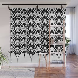 black and white art deco inspired fan pattern Wall Mural
