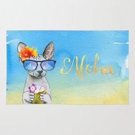 Aloha Cat // sphynx cat on holiday at the beach Rug