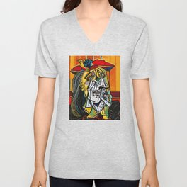 Pablo Picasso Crying Woman 1937 Artwork Shirt, Reproduction Unisex V-Neck