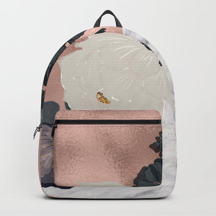 Floral marble rose gold Backpack