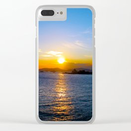 Sunset in Star Ferry Pier, Hong Kong Clear iPhone Case