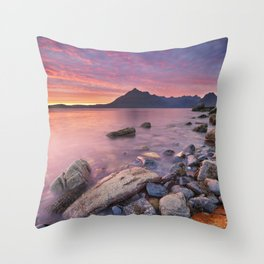 I - Spectacular sunset at the Elgol beach, Isle of Skye, Scotland Throw Pillow