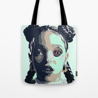 fka twigs Tote Bags featuring FKA TWIGS LINE DRAWING by Happy as Flynn