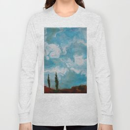 Cypress Trees encaustic wax painting by Seasons Kaz Sparks Long Sleeve T-shirt
