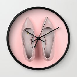 Pair of classic women's beige shoes with pushpin Wall Clock