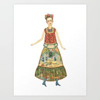 frida khalo Art Prints featuring Frida Khalo Watercolor Illustration.  by Elsa Mora