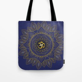 Om Symbol and Mandala in Spiritual Gold Purple Blue Violet Tote Bag
