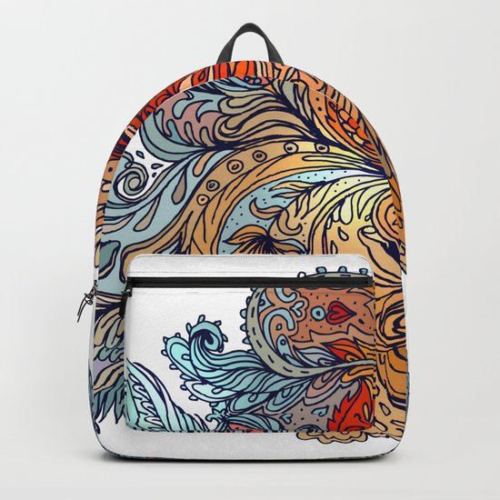 Brown Floral Indian Pattern Backpack