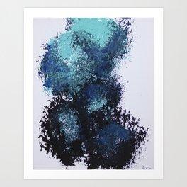 Blue Broom Balloons Art Print