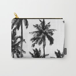 Palm print, Scandinavian, Modern, Tropical, Wall Art, Minimal, Black and white Carry-All Pouch