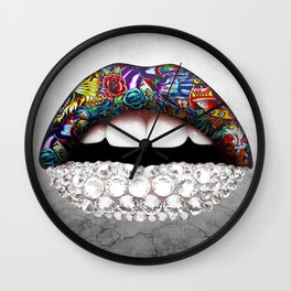 lips and Diamonds Wall Clock