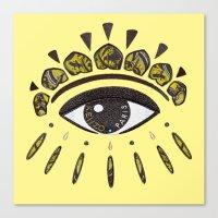 kenzo Canvas Prints featuring Kenzo eye yellow by cvrcak