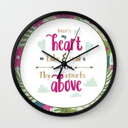 """Here's My Heart"" Hymn Lyric Wall Clock"