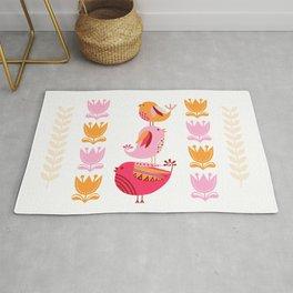 Happy Pink And Orange Birds And Blooms Rug