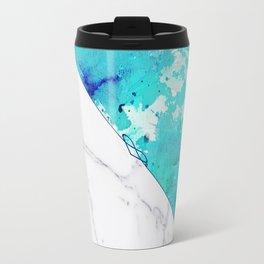Teal watercolor paint splatters white marble Travel Mug