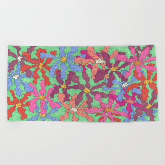 Colorful Retro Floral Print Beach Towel