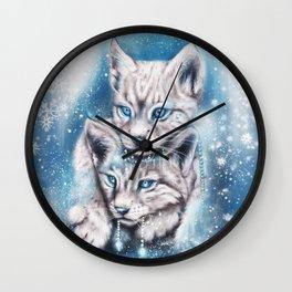 Blue Winter Lynx - Sheena Pike Art & Illustration Wall Clock