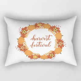 Harvest Festival calligraphy lettering with wreath of colorful autumn leaves, flowers and pumpkins Rectangular Pillow