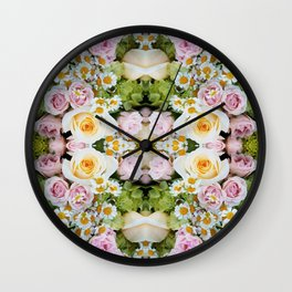 Bird Peeking On The Roses (Mandala #124b) Wall Clock