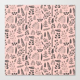 Pink and black leaves Canvas Print