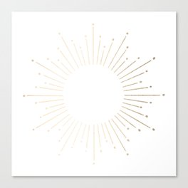 Simply Sunburst in White Gold Sands on White Canvas Print