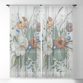 Moody Magnolia Arrangement Sheer Curtain