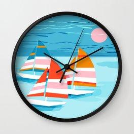 Popin - memphis sports retro throwback neon sailing sailboat cool rad gnarly trendy watersports Wall Clock