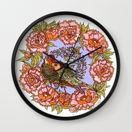 Lovebirds With Peony Wreath Wall Clock