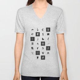 Alphabet Print Unisex V-Neck