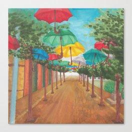 Umbrella Street Canvas Print