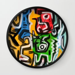Primitive street art abstract Wall Clock