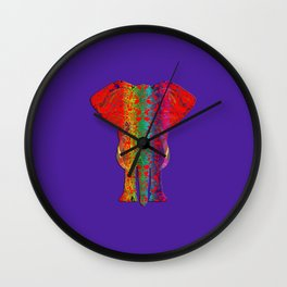 Rainbow Ganesha (Purple Background) Wall Clock