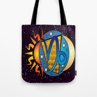 astrology Tote Bags featuring Astrology, Capricorn by Karl-Heinz Lüpke