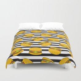 Burger Stripes By Everett Co Duvet Cover