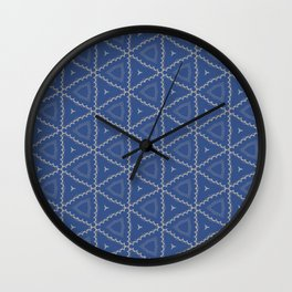 Silver Blue Geo Pattern Wall Clock
