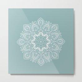 Temptation Mandala on Milky Blue Background Metal Print