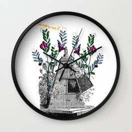 Vintage Beehive with Flowers Wall Clock