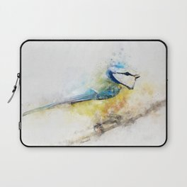 Yellow blue tit watercolour painting watercolour minimalism artsy illustration Laptop Sleeve