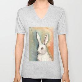 Portrait of a White Rabbit Unisex V-Neck