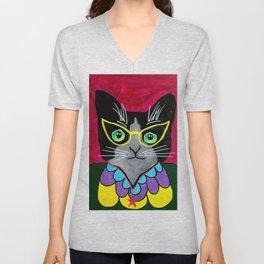 Teacher Glasses Cat Portrait Acrylic Painting Unisex V-Neck