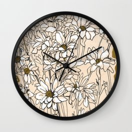 Chrysanthemum, ink sketch Wall Clock